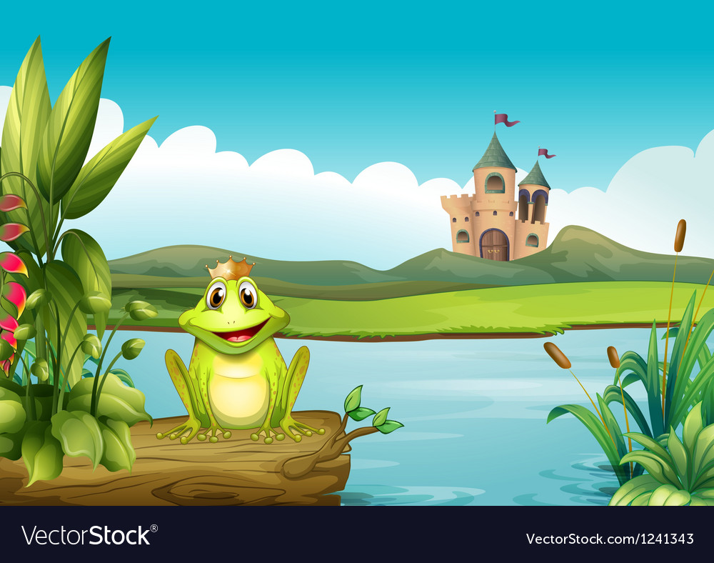 A frog with a crown at the river vector