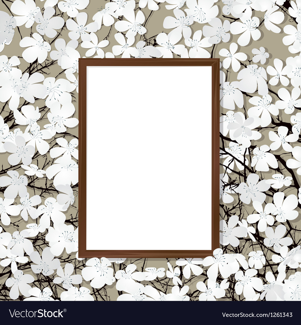 Wooden frame and flower vector