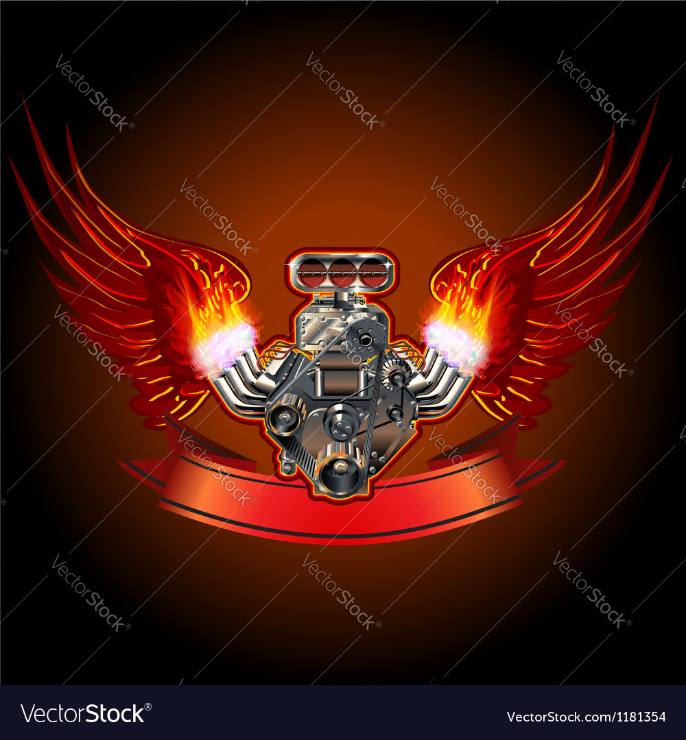 Turbo engine with wings vector