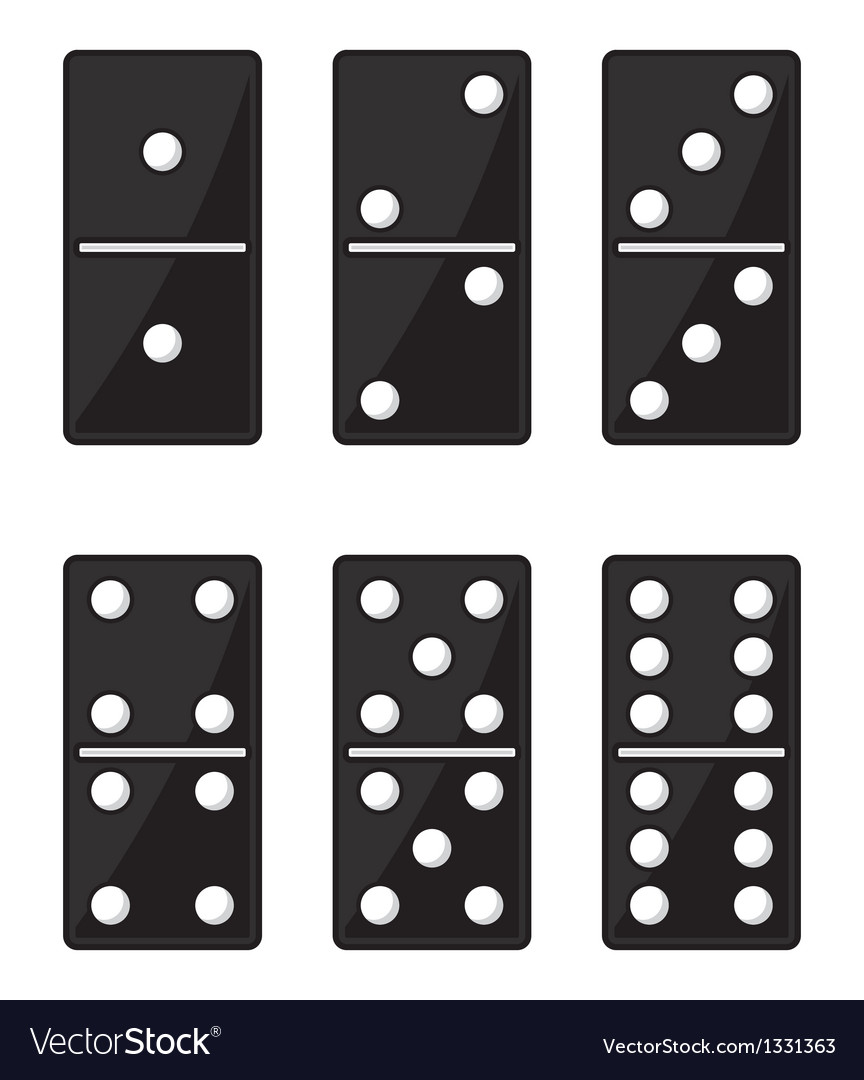 Domino black set vector