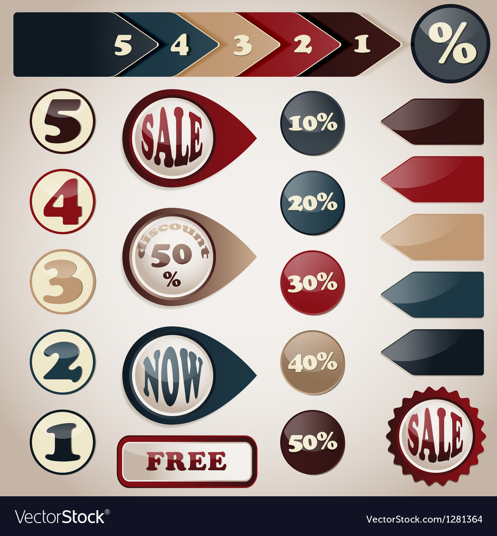 Set of sale labels vector