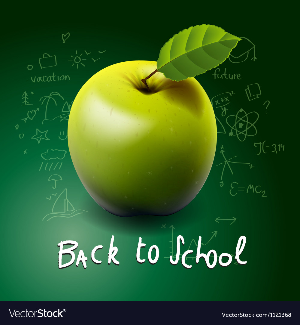 Back to school with green apple on desk vector