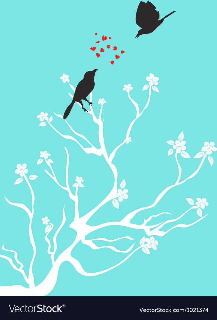 Birds talk love vector
