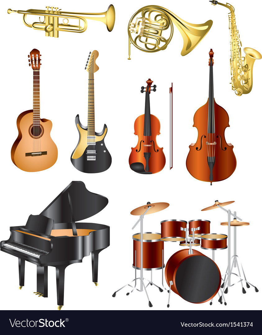 Icons music instruments vector