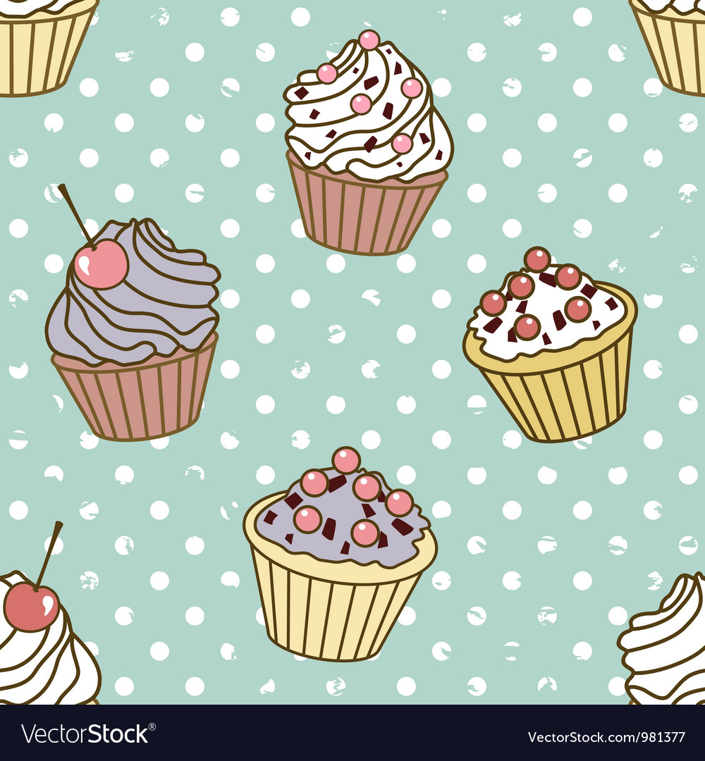 Cakes pattern retro vector