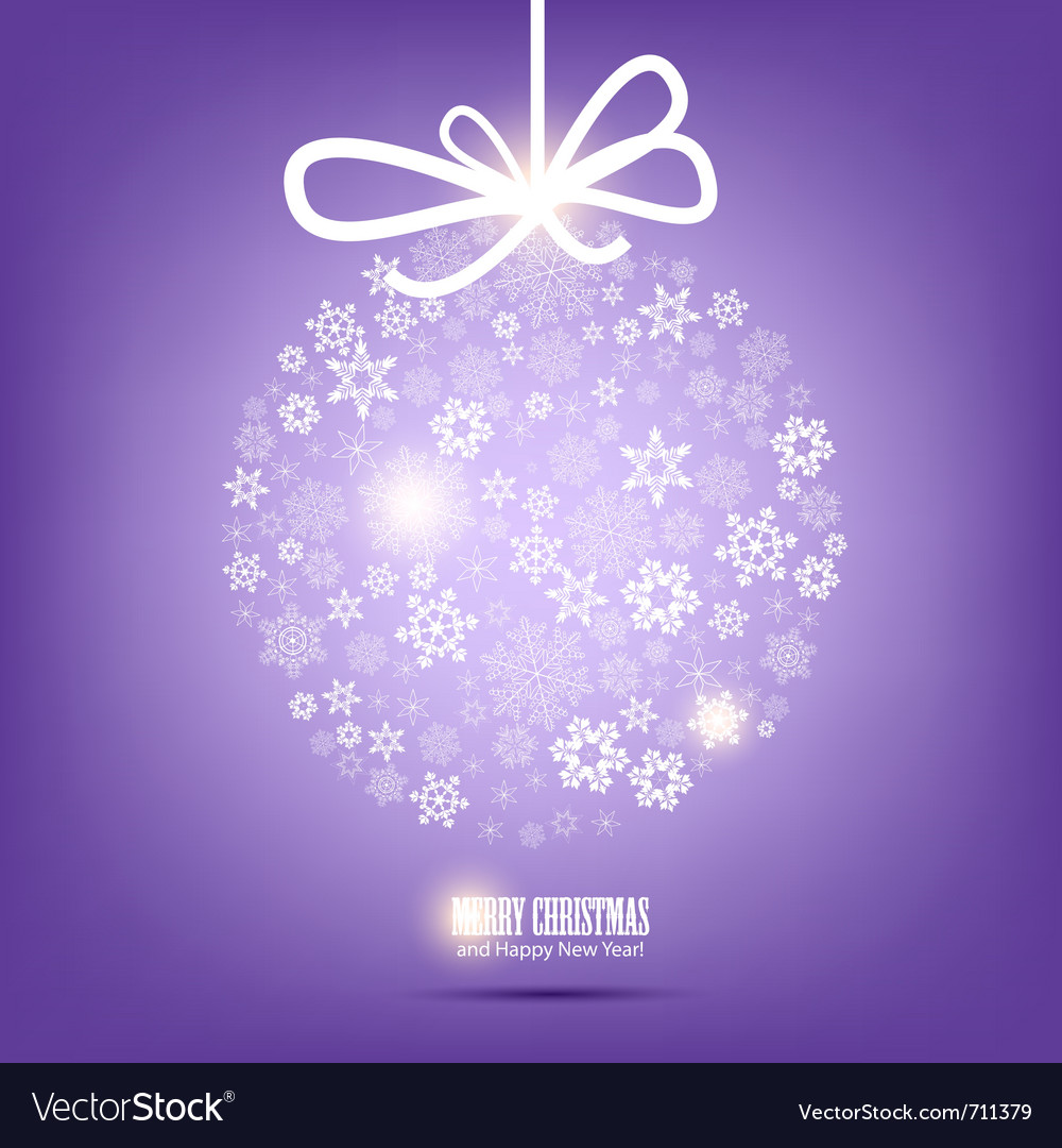Christmas ball made from snowflakes christmas back vector