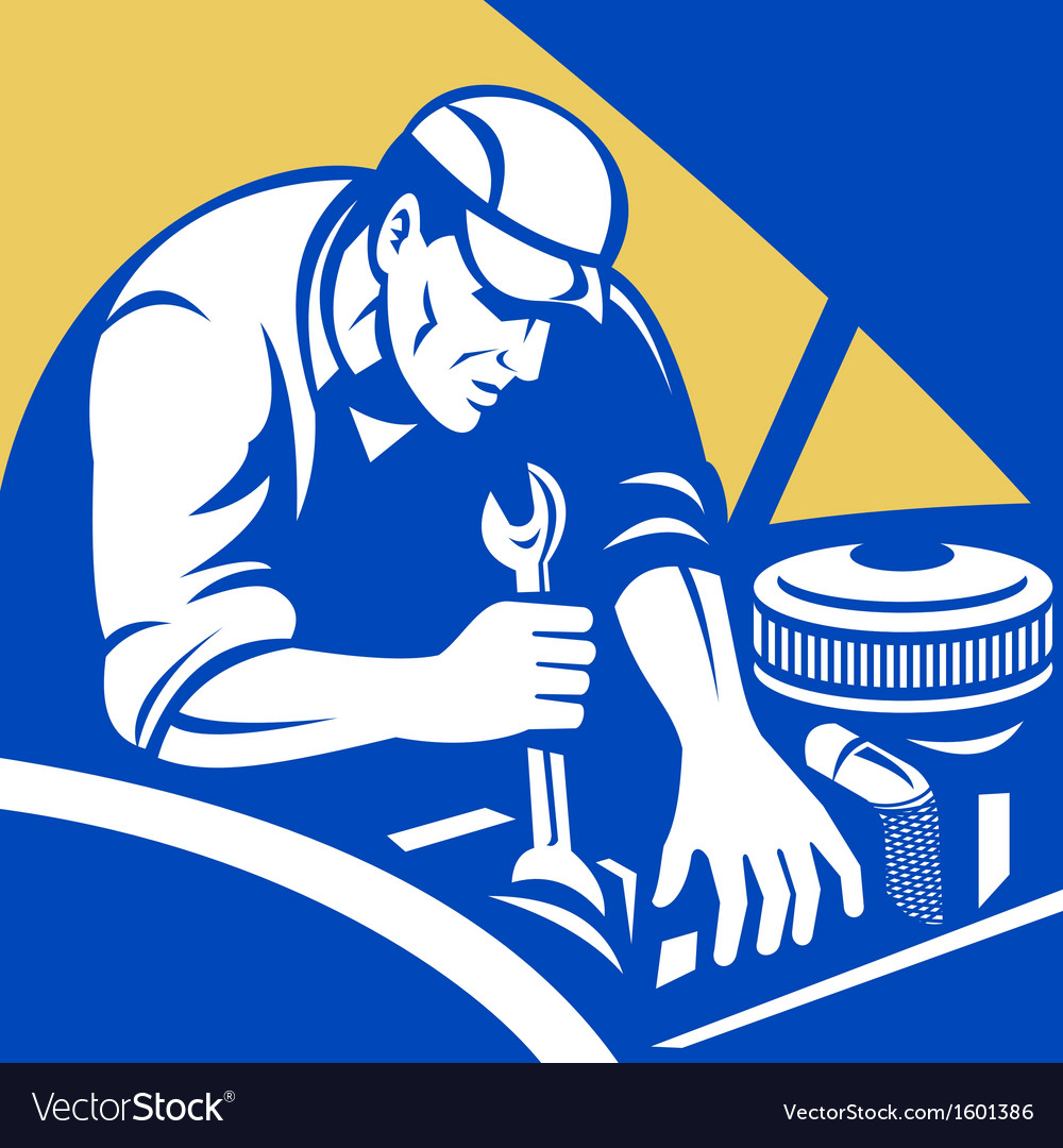Automobile car repair mechanic with spanner vector