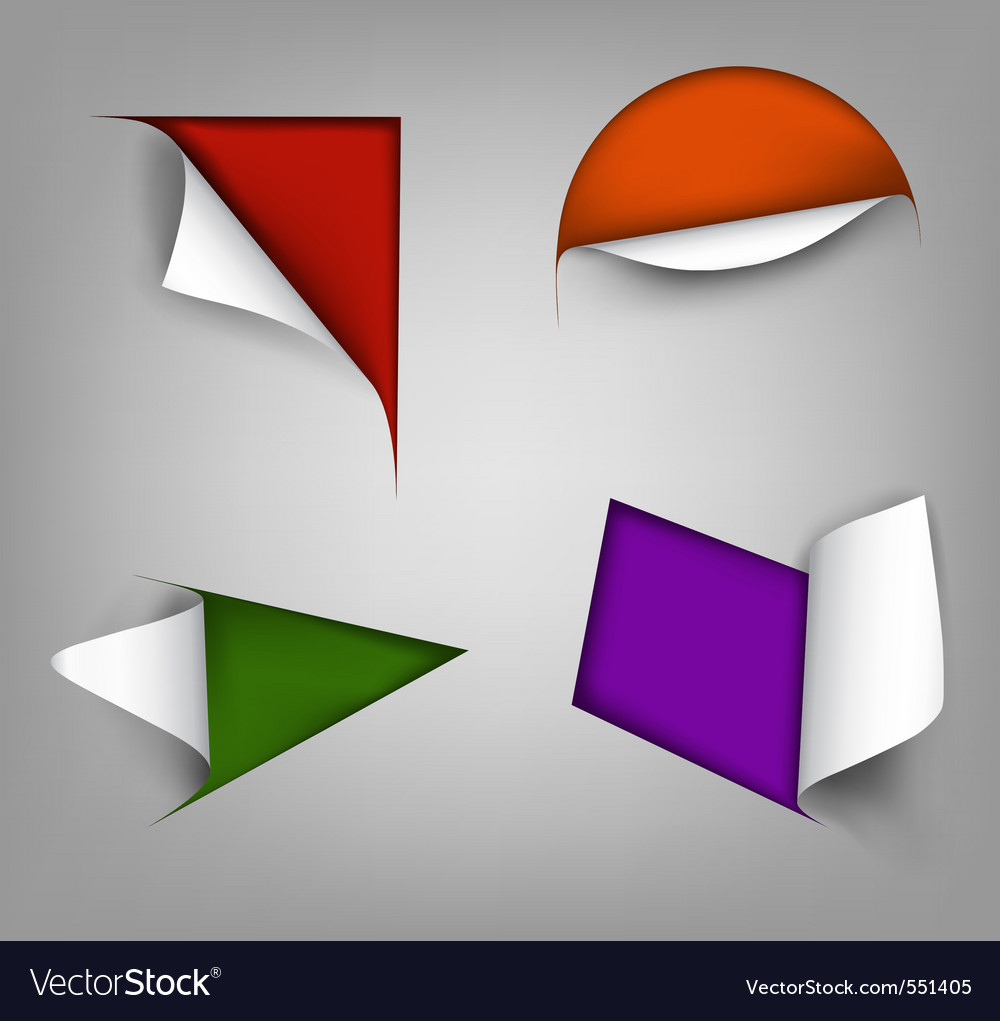 Set of four paper corner vector