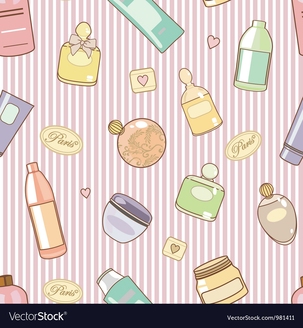Cosmetics on pink pattern vector