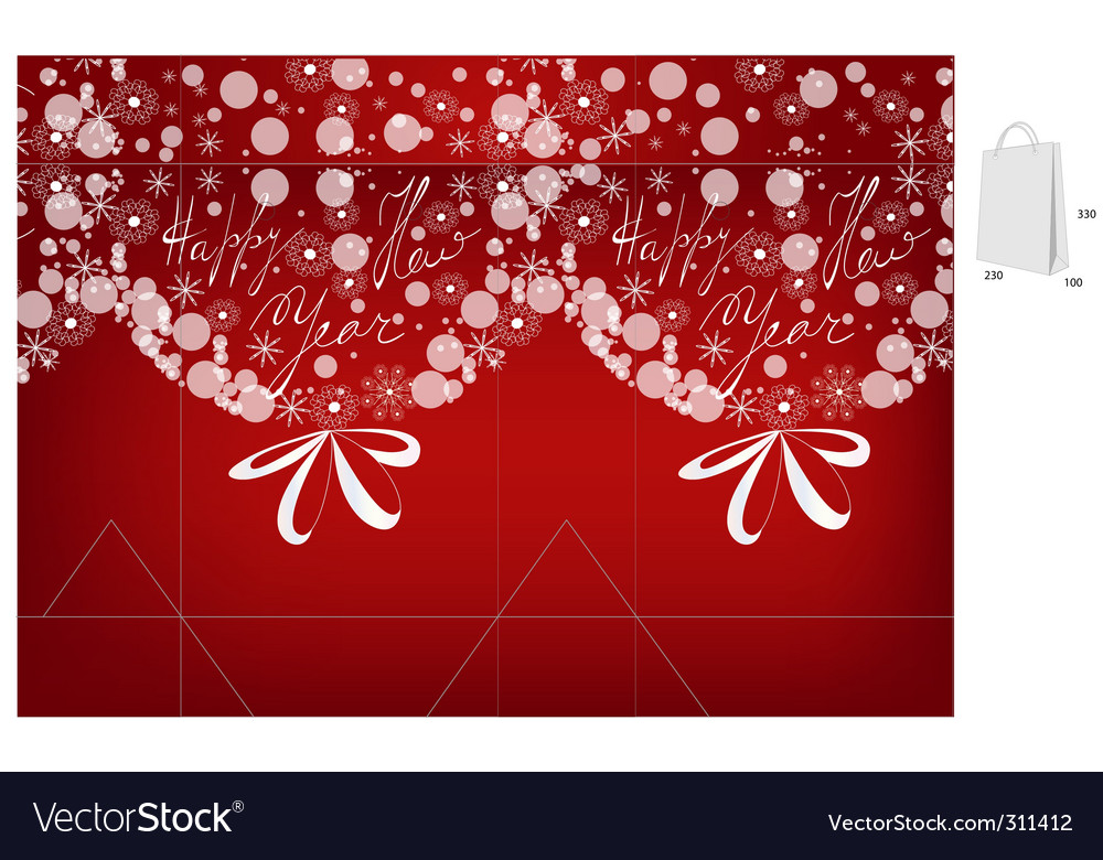 Template for christmas bag vector