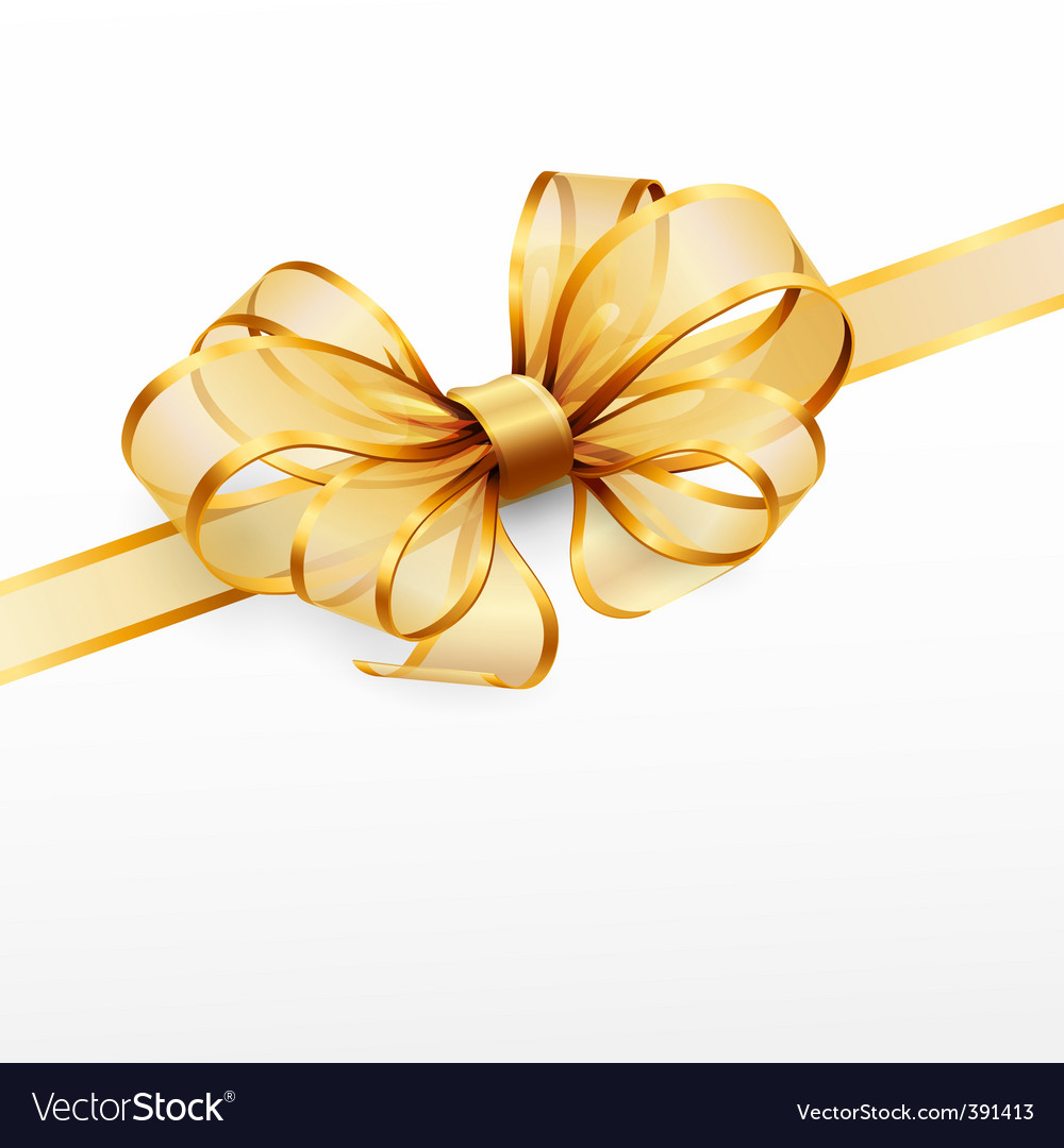 Golden bow vector