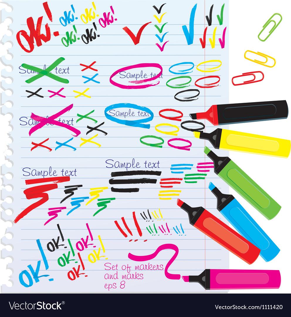 Color markers design elements vector