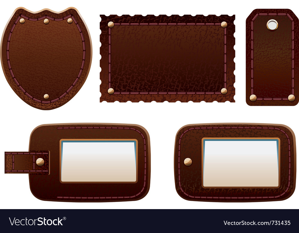 Leather labels vector