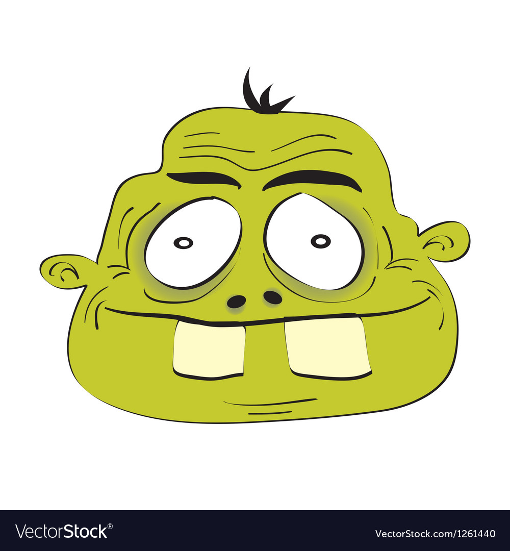Cute dumb monster head vector