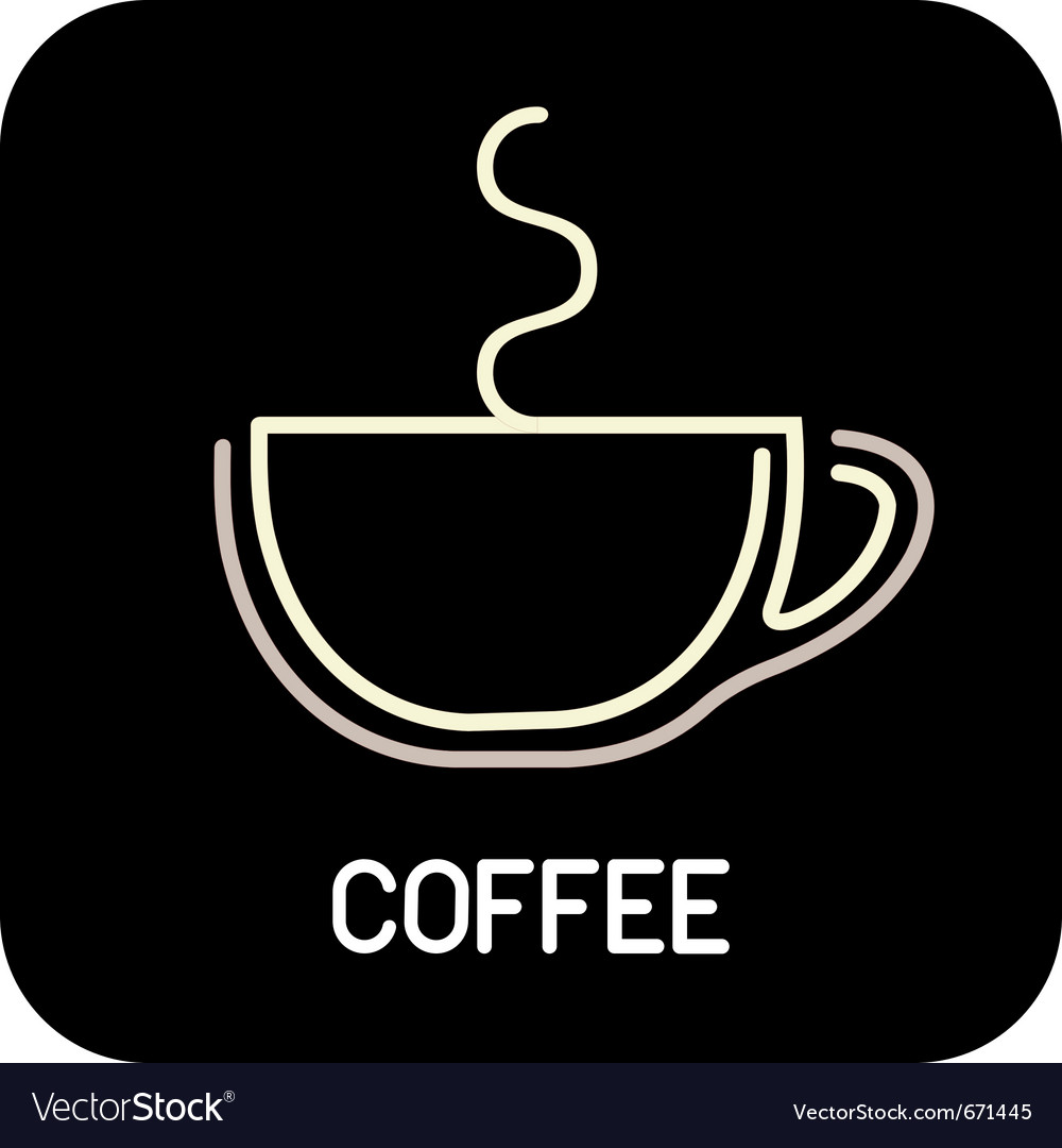 Coffee - icon isolated outline on black background vector