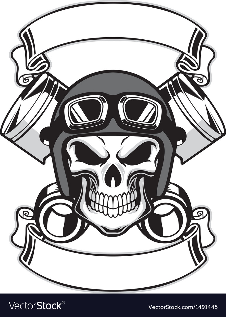 Skull wearing retro motorbike helmet vector