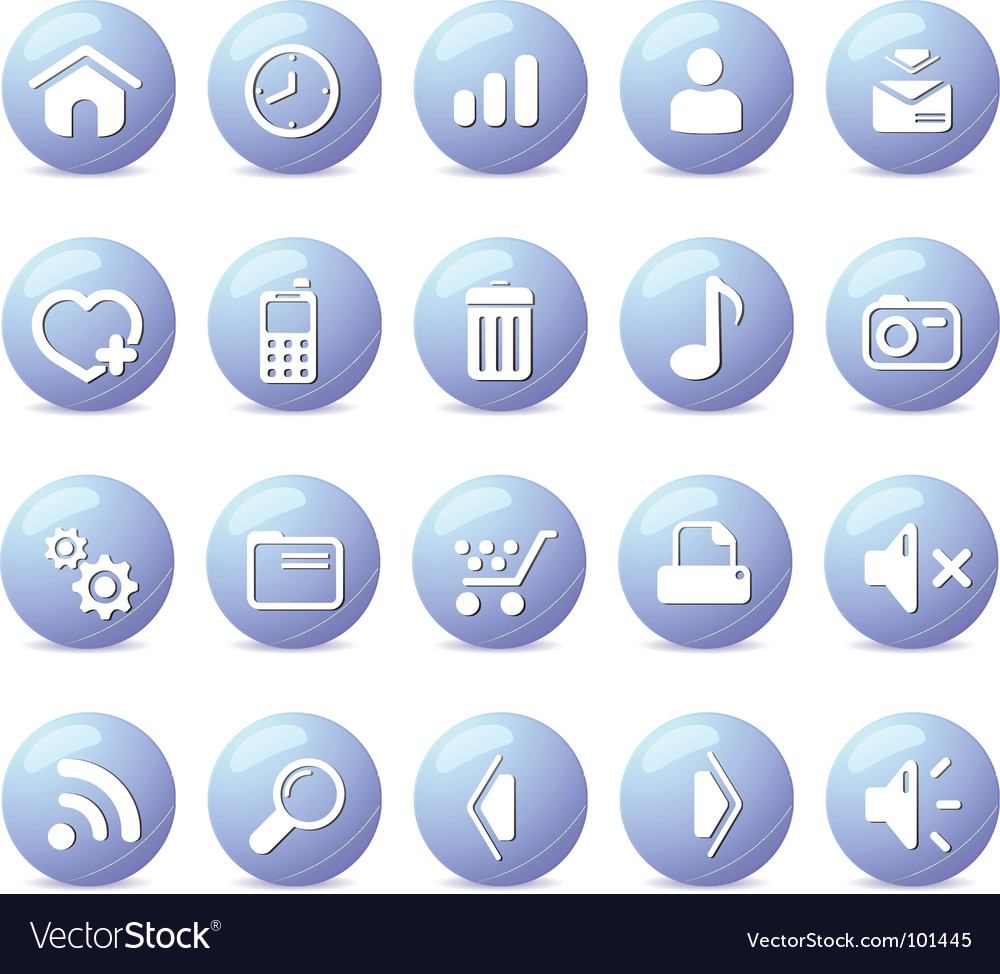 Web icons glossy blue vector