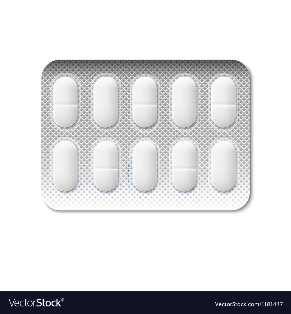 Pills in a blister pack vector