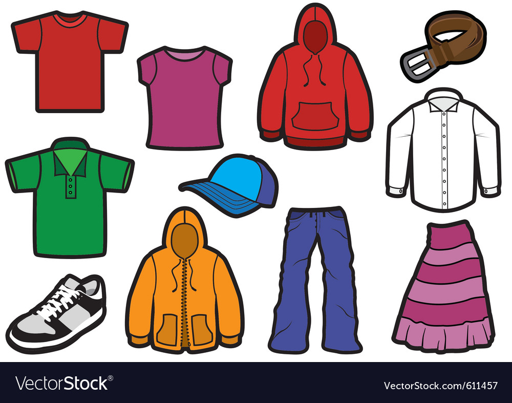Clothing symbol set with bold outlines vector