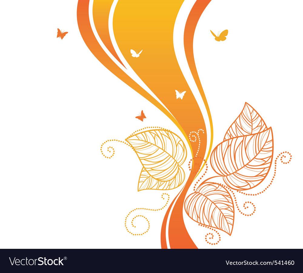 Back doodle floral orangered vector