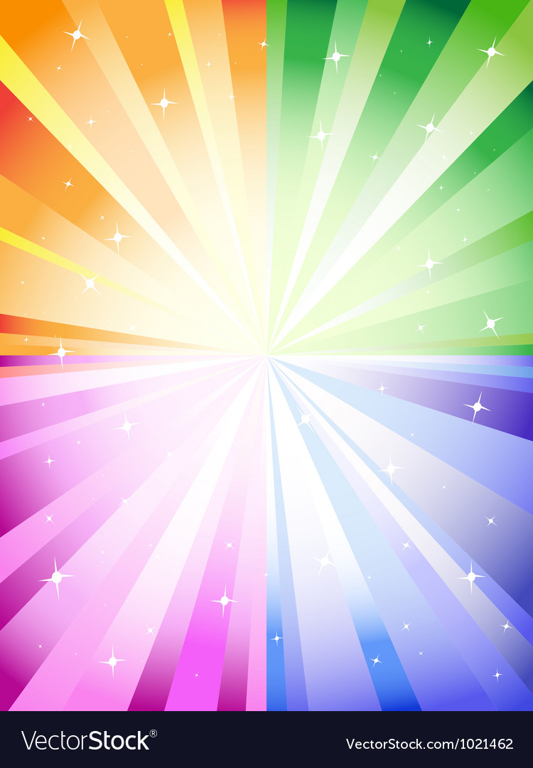 A colorful background with a burst and stars vector
