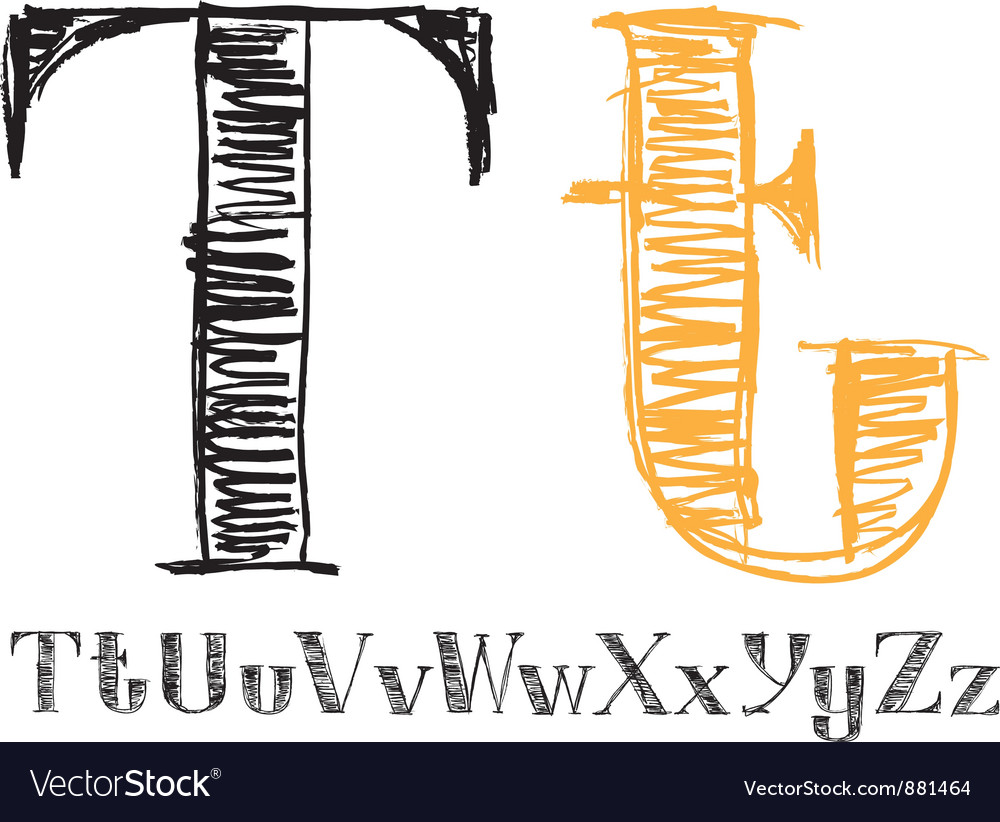 Sketch alphabet new 04 vector