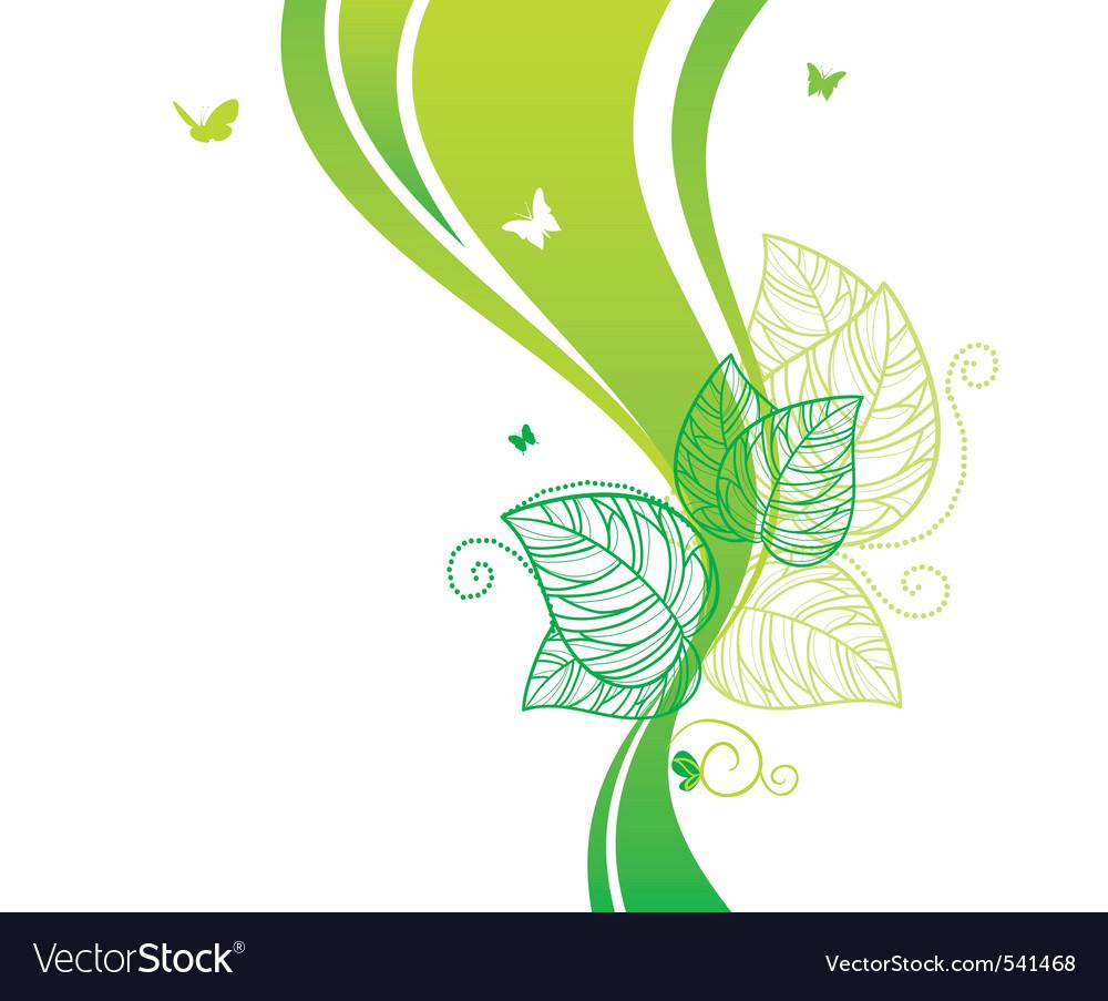Back doodle floral green vector