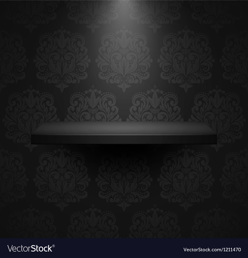 Dark empty isolated shelf vector