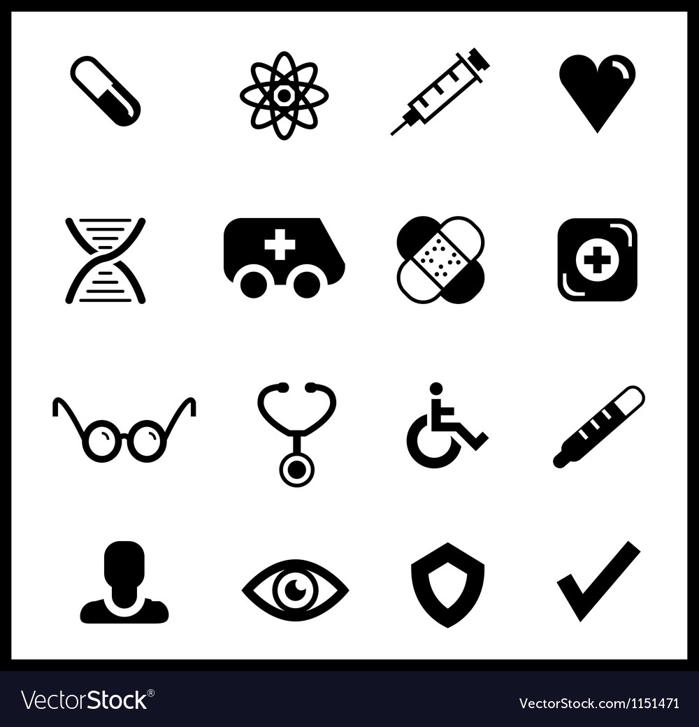 Black medical icon set vector