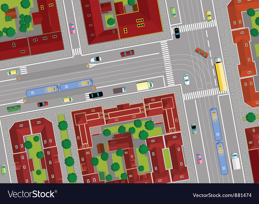 Traffic on city streets vector