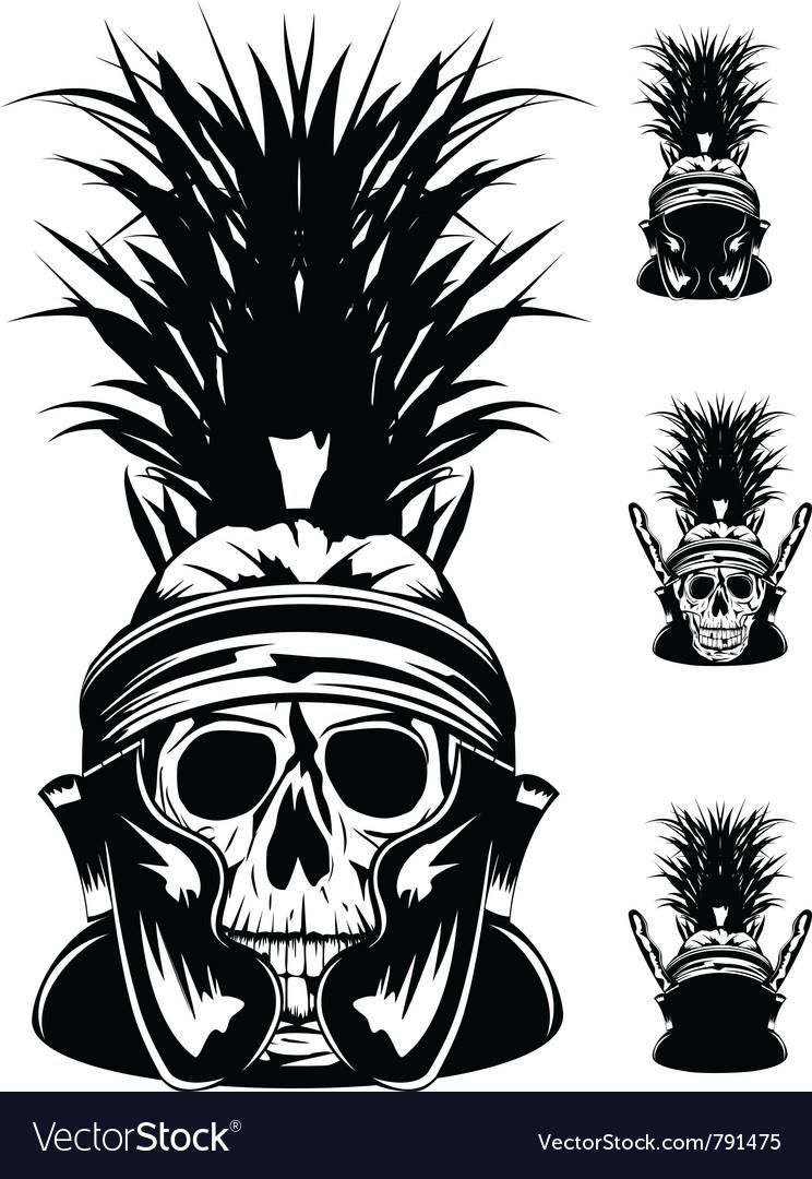 Skull in helmet vector