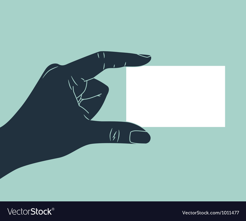 Hand showing blank business card vector