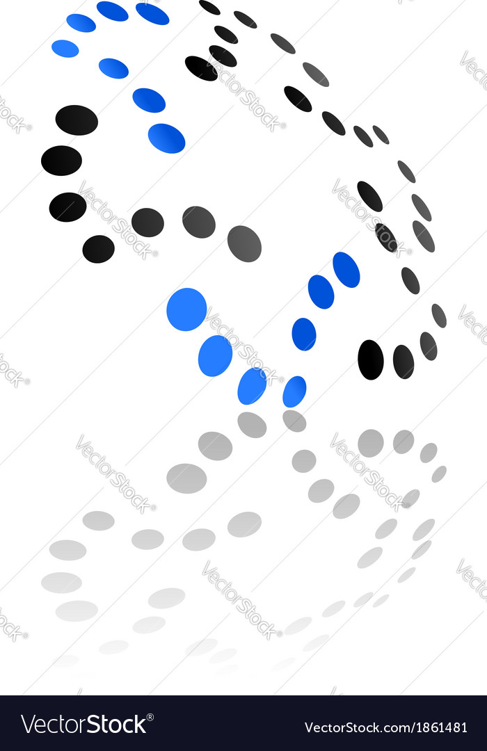 Abstract symbol with oblique curved perspective vector