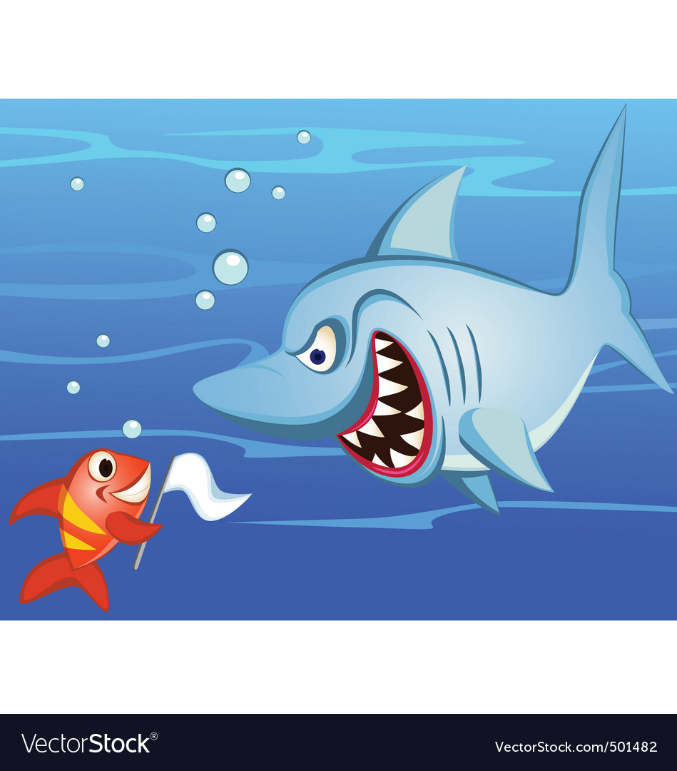 Shark and small fish vector