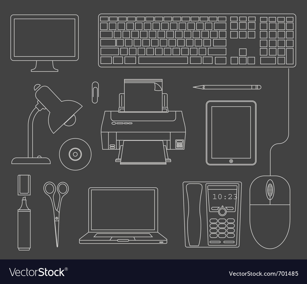 Outlined set of office devices vector