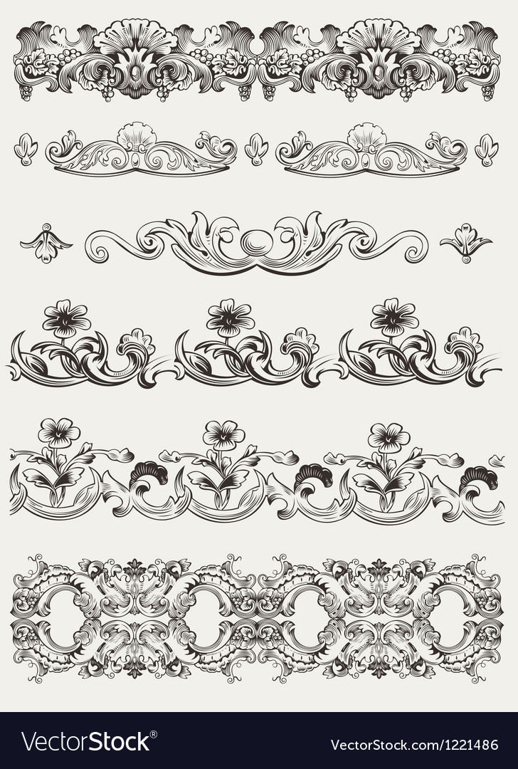 Set of original vintage calligraphic design elemen vector