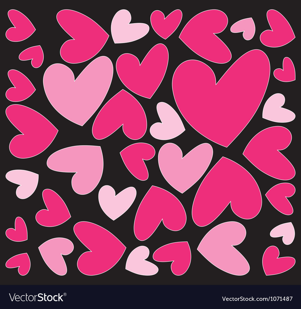 Abstract pink hearts vector