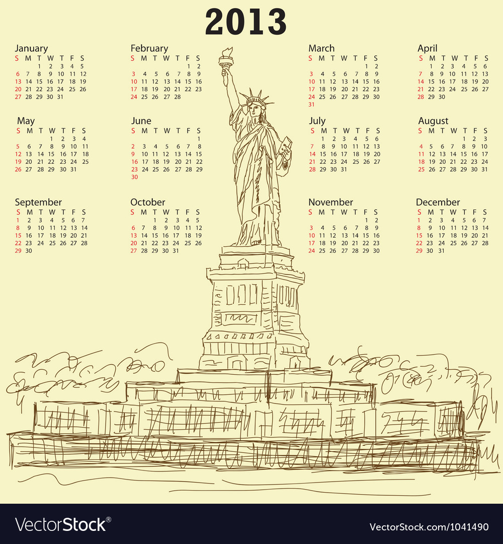 Statue of liberty vintage 2013 calendar vector