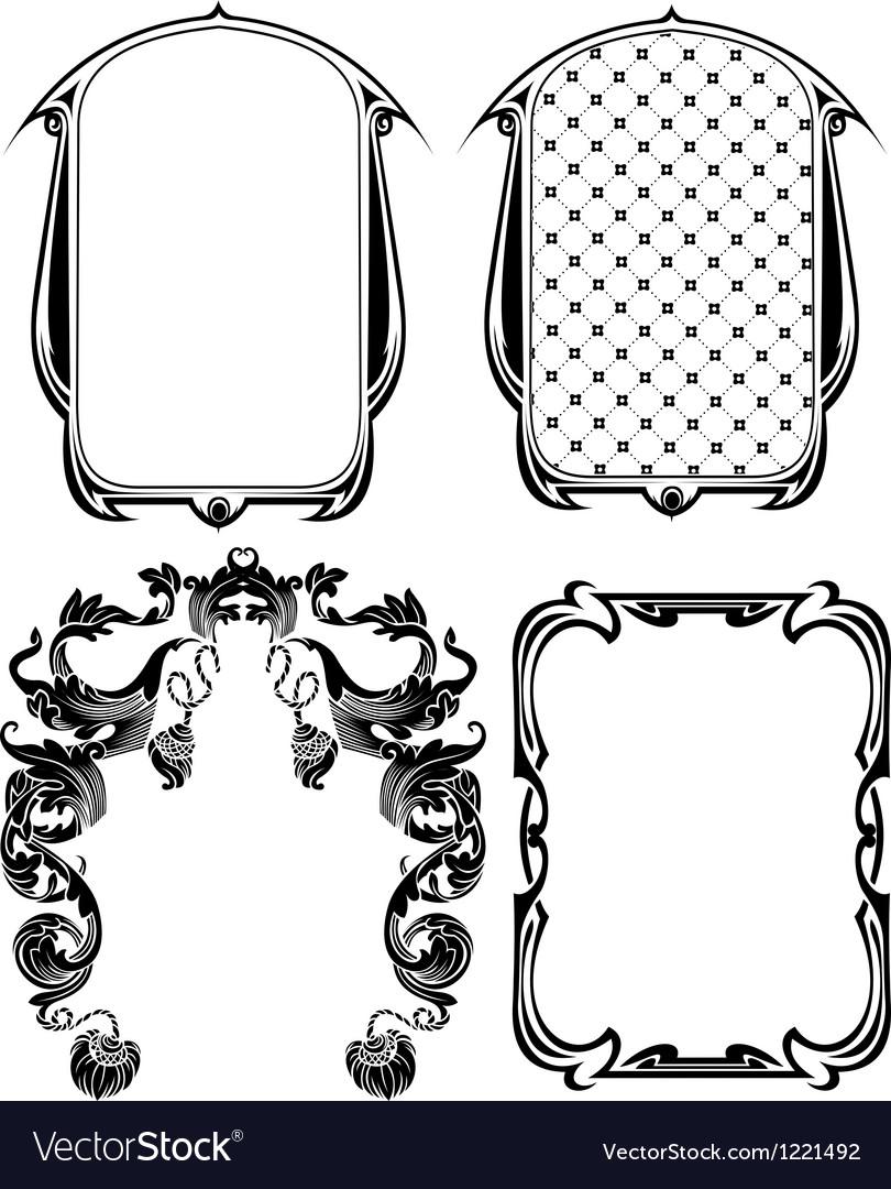 Vintage frames elements set vector
