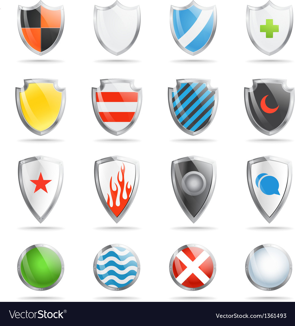 Colorful shields collection isolated on white vector