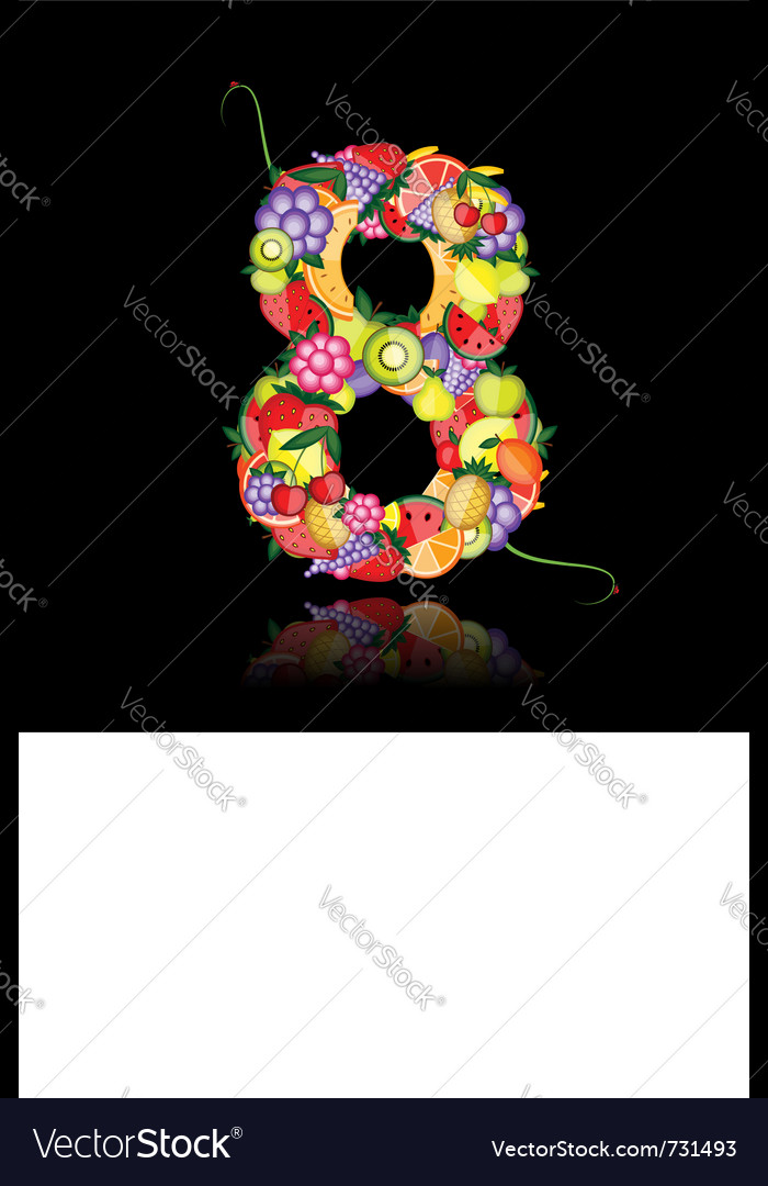 Number eight made from fruit vector