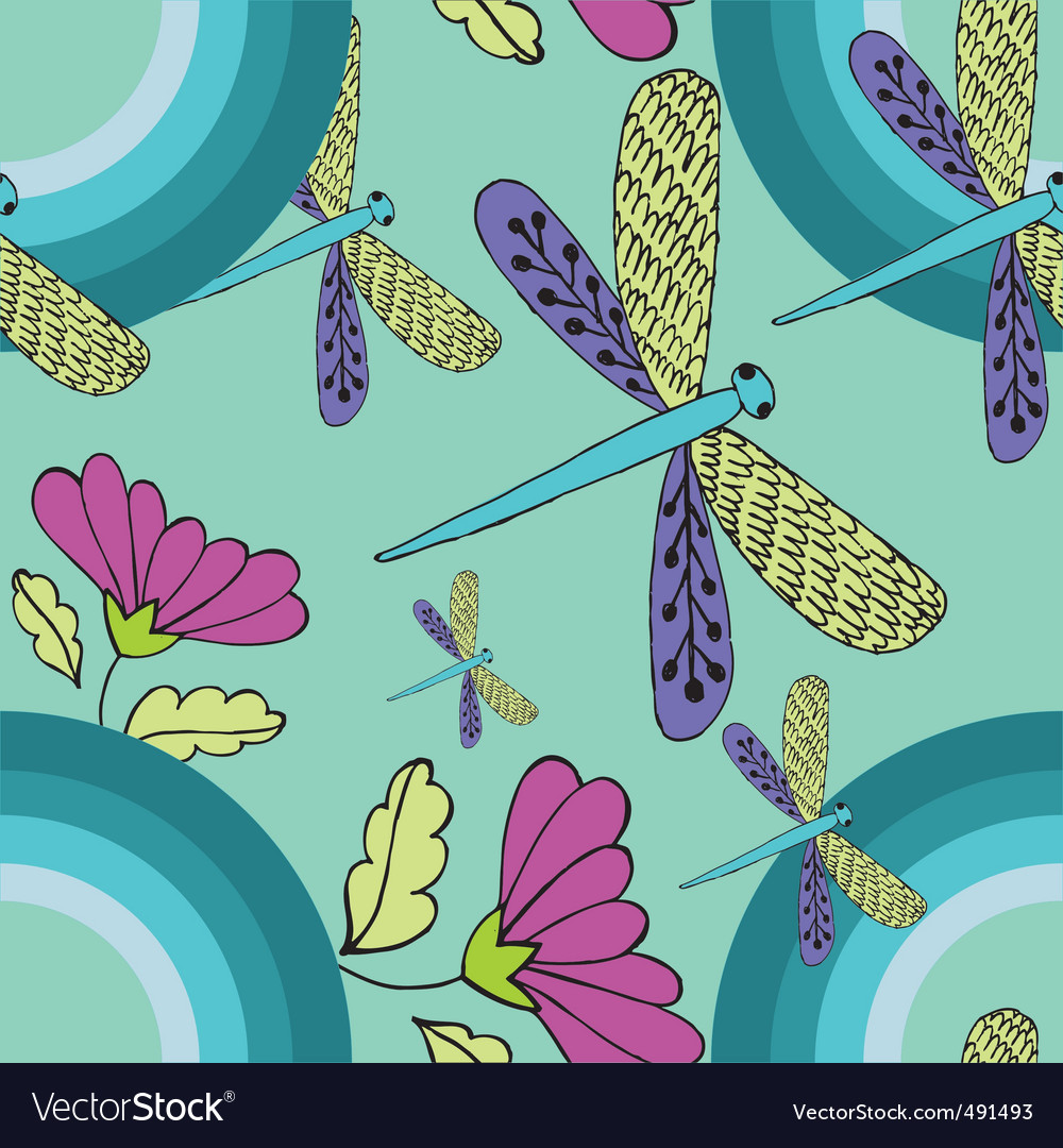 Retro dragonfly pattern vector