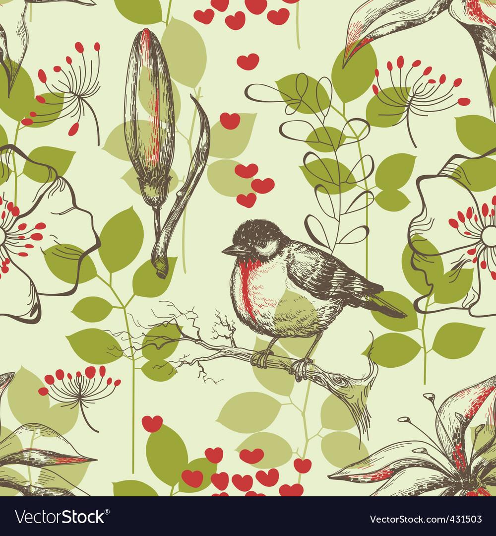 Bird and lilies wallpaper vector