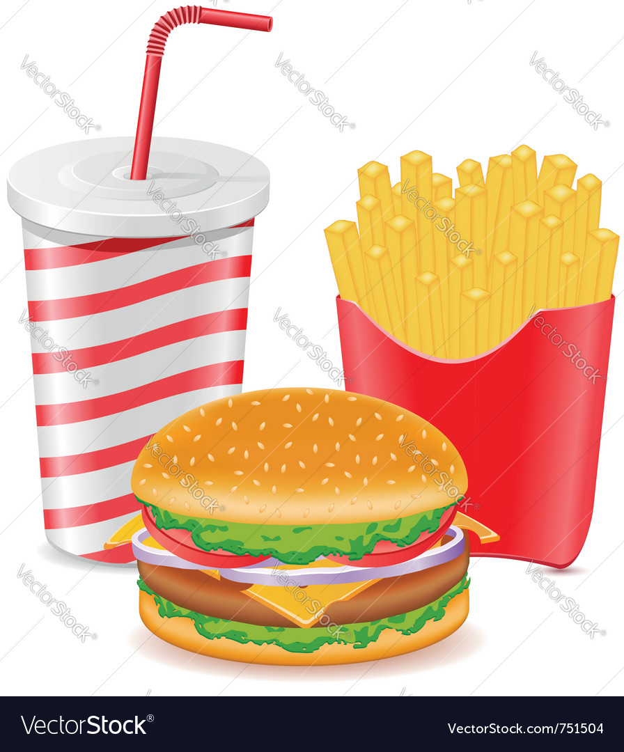 Cheeseburger fries potato and paper cup with soda vector