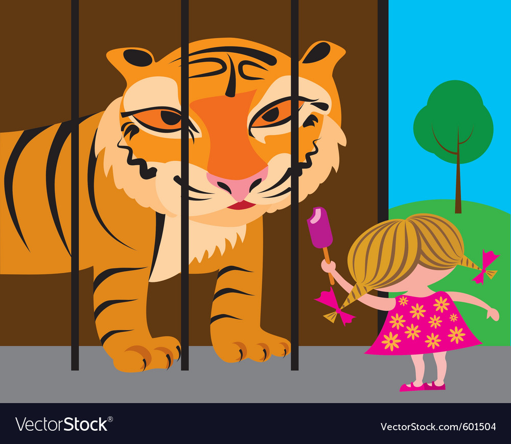 Litlle girl in a zoo vector