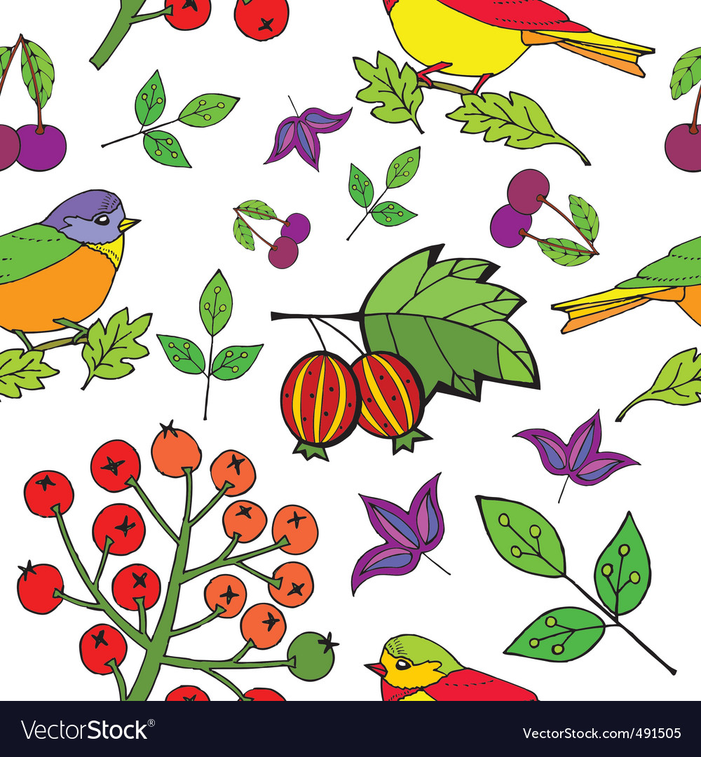 Bird berries print vector