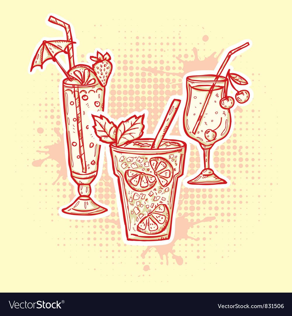 Alcohol drinks icons vector