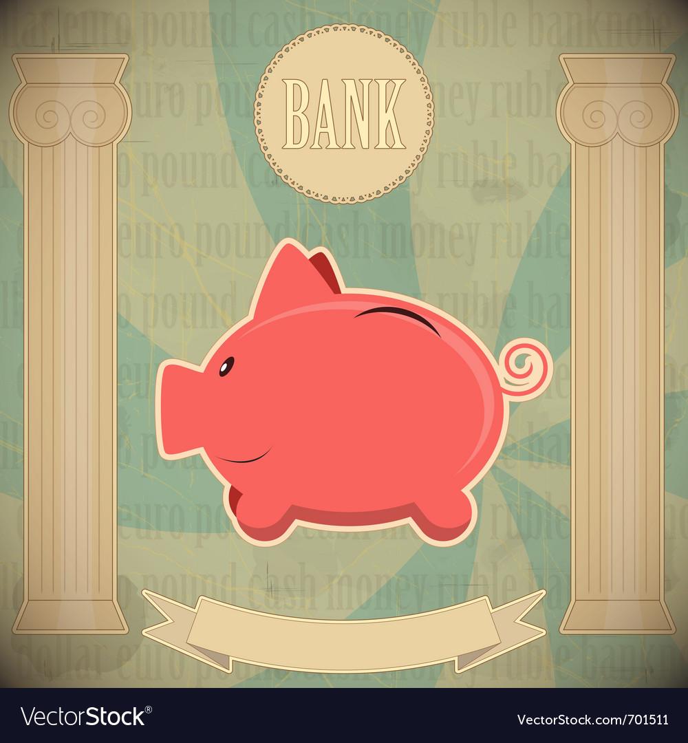 Pink piggy bank vector