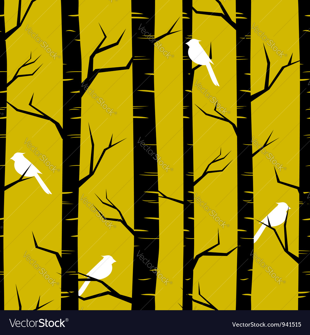 Birches and birds vector
