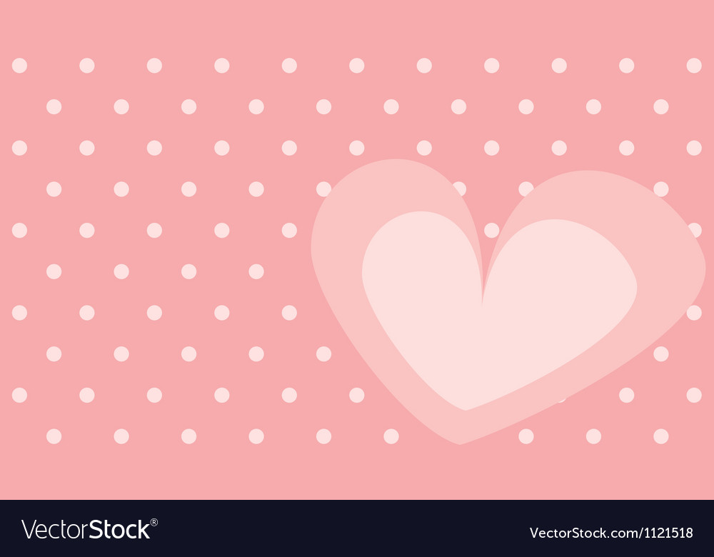 Pink heart with polka dots on background vector